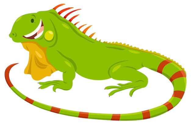 Cartoon illustration of green iguana animal