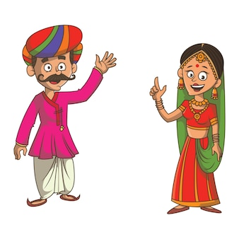 Cartoon illustration of gujarati couple.