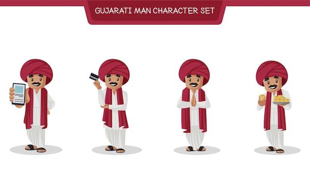 Cartoon illustration of gujarati man character set