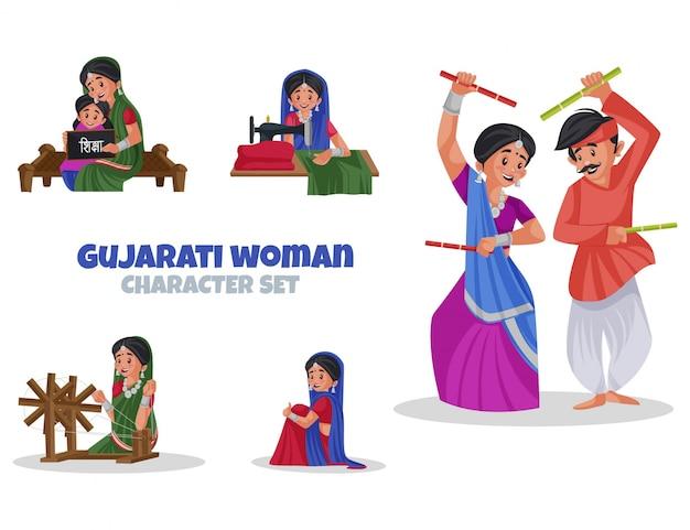 Cartoon illustration of gujarati woman character set