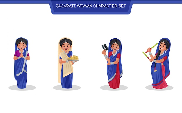 Cartoon illustration of gujarati woman character set