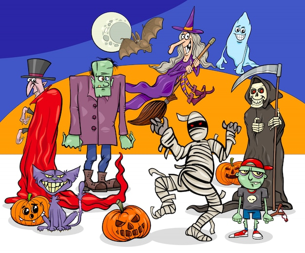 Cartoon illustration of halloween holiday monsters and creatures