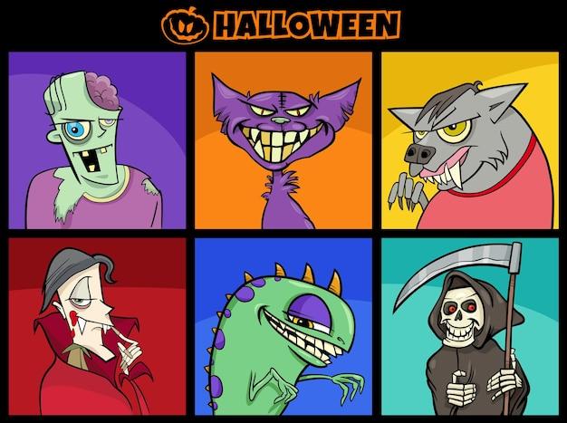 Cartoon illustration of halloween scary characters set