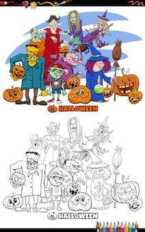 Cartoon illustration of halloween spooky characters coloring book page
