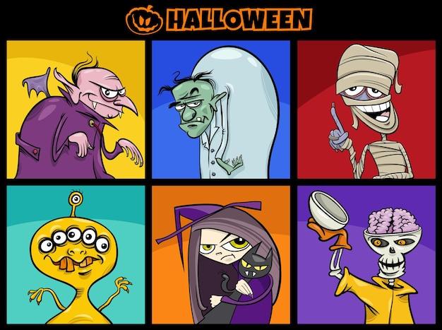 Cartoon illustration of halloween spooky characters set