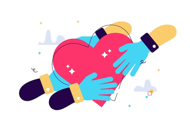 Cartoon illustration of hand holding a heart icon passed from hand to hand.