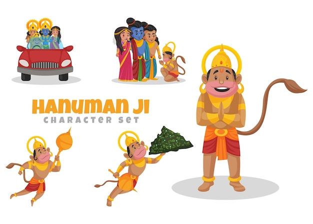Cartoon illustration of hanuman ji character set