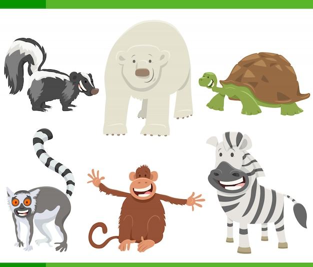Cartoon illustration of happy animals set