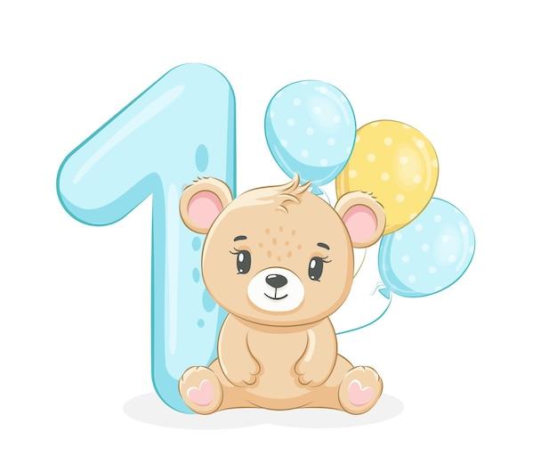 Карикатура иллюстрации «с днем рождения, 1 год», милый медвежонок. векторная иллюстрация.
