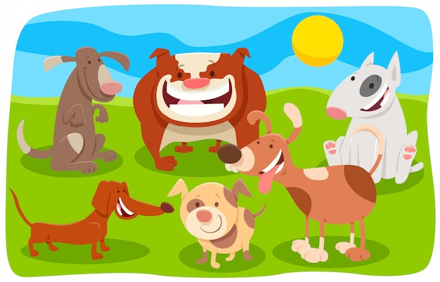 Cartoon illustration of happy dogs characters group