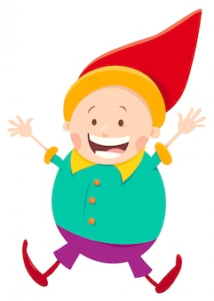 Cartoon illustration of happy dwarf character