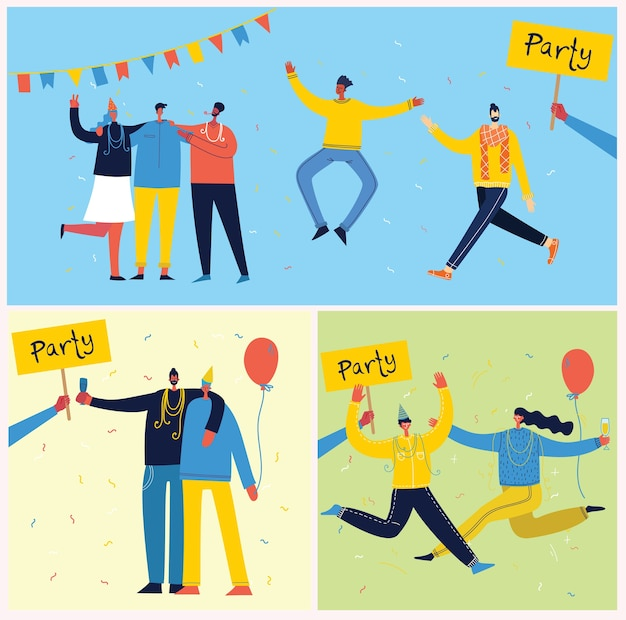 Cartoon illustration of happy group of people celebrating, jumping on the party.