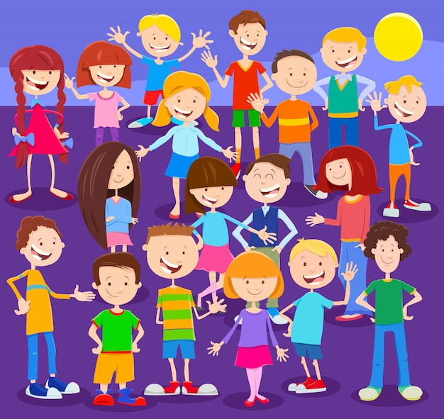 Cartoon illustration of happy kids or teens group