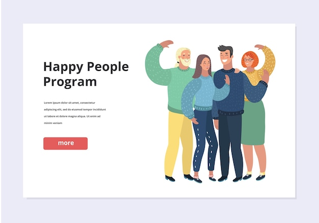 Cartoon illustration of happy people groop wave to you