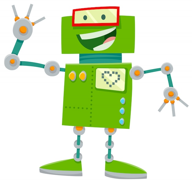 Cartoon illustration of happy robot character