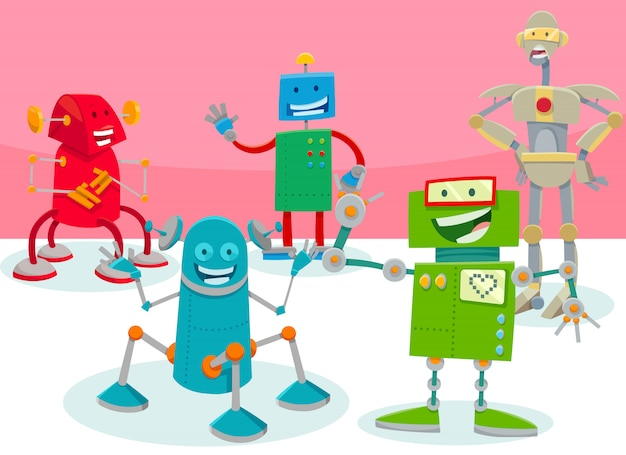 Cartoon illustration of happy robots characters