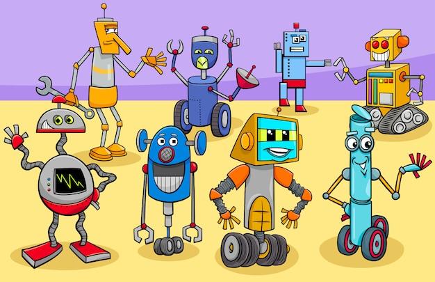 Cartoon illustration of happy robots characters