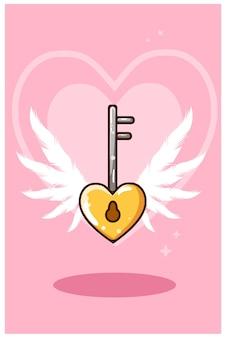 Cartoon illustration of heart shaped key-chain