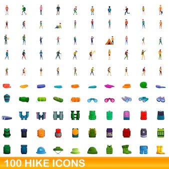 Cartoon illustration of hike icons set isolated on white