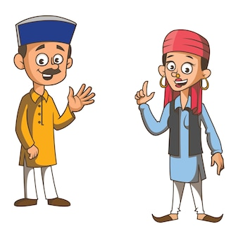 Cartoon illustration of himachal pradesh couple.