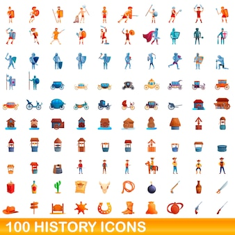 Cartoon illustration of history icons set isolated on white