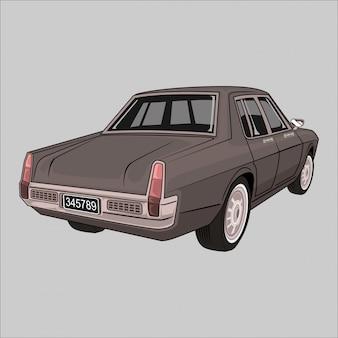 Cartoon  illustration holden classic retro vintage car