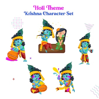 Cartoon illustration of holi theme krishna character set