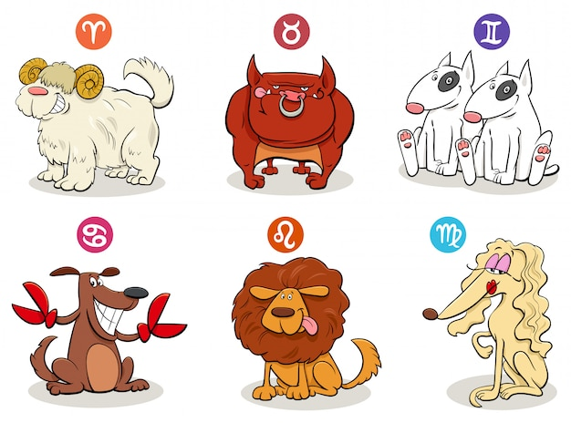 Cartoon illustration of horoscope zodiac signs with dogs set