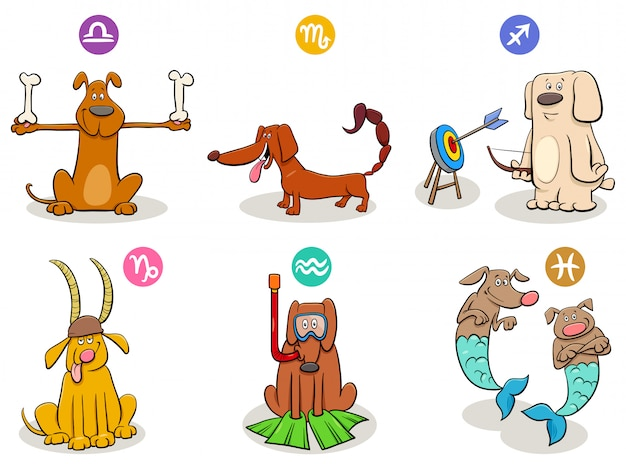 Cartoon illustration of horoscope zodiac signs with dogs set