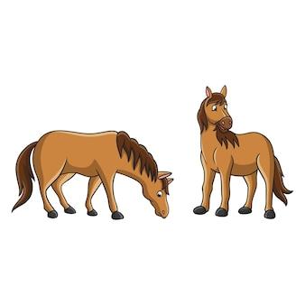 Cartoon illustration horse eating grass