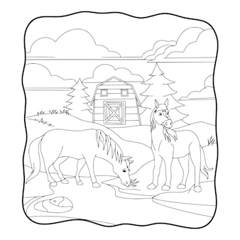 Cartoon illustration the horse is eating grass in front of the stable book or page for kids black and white