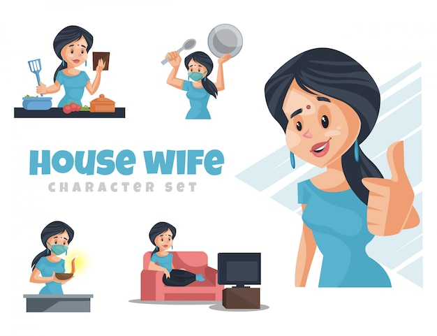 Cartoon illustration of house wife character set