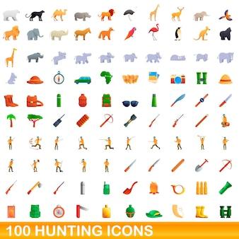 Cartoon illustration of hunting icons set isolated on white