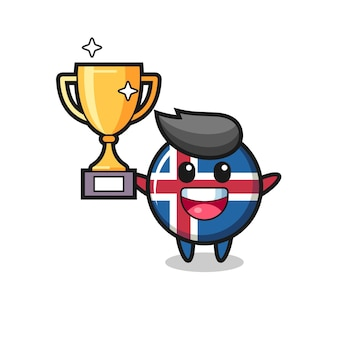 Cartoon illustration of iceland flag is happy holding up the golden trophy , cute design