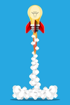 Cartoon illustration idea rocket launch isolated images. space mission rockets with smoke. illustration in 3d style