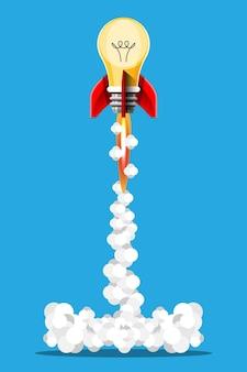 만화 그림 아이디어 로켓 발사 고립 된 이미지입니다. 연기와 함께 우주 임무 로켓입니다. 3d 스타일의 일러스트레이션