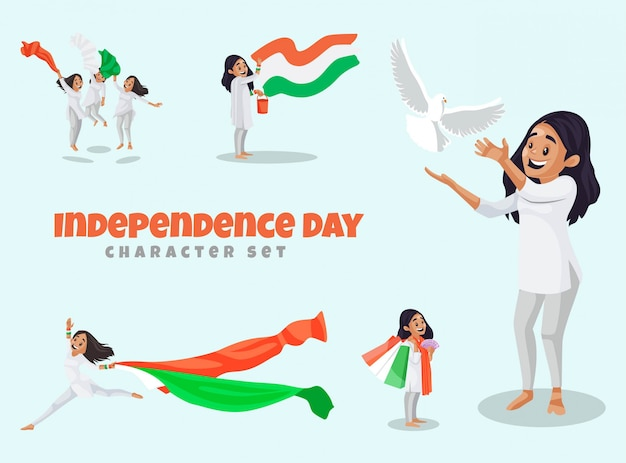 Cartoon illustration of independence character set
