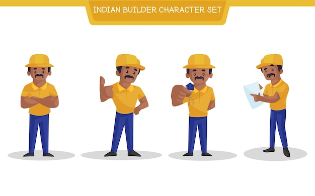 Cartoon illustration of indian builder character set