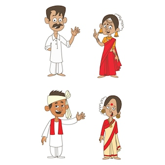Cartoon illustration of indian couples.