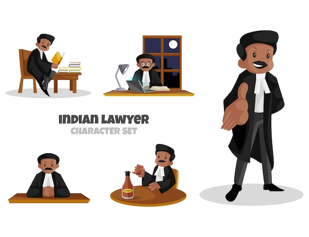 Cartoon illustration of indian lawyer character set