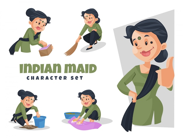 Cartoon illustration of indian maid character set