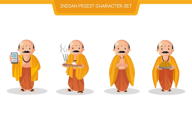Cartoon illustration of indian priest character set