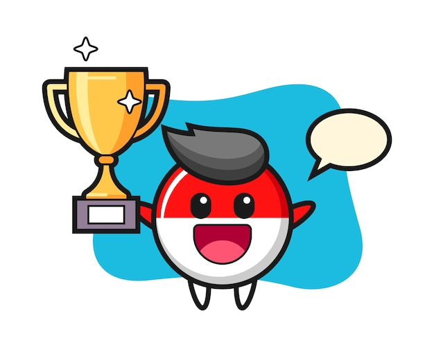 Cartoon illustration of indonesia flag badge is happy holding up the golden trophy