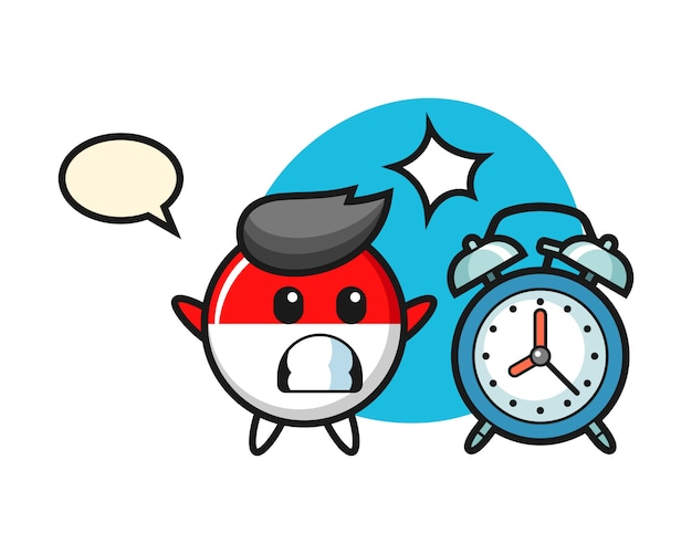 Cartoon illustration of indonesia flag badge is surprised with a giant alarm clock