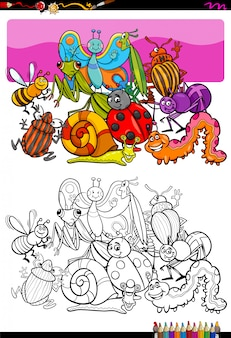 Cartoon illustration of insect characters coloring book