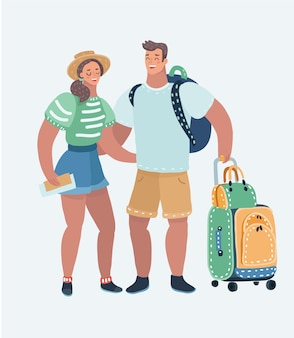 Cartoon illustration of inspired young loving couple