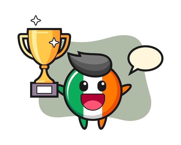 Cartoon illustration of ireland flag badge is happy holding up the golden trophy