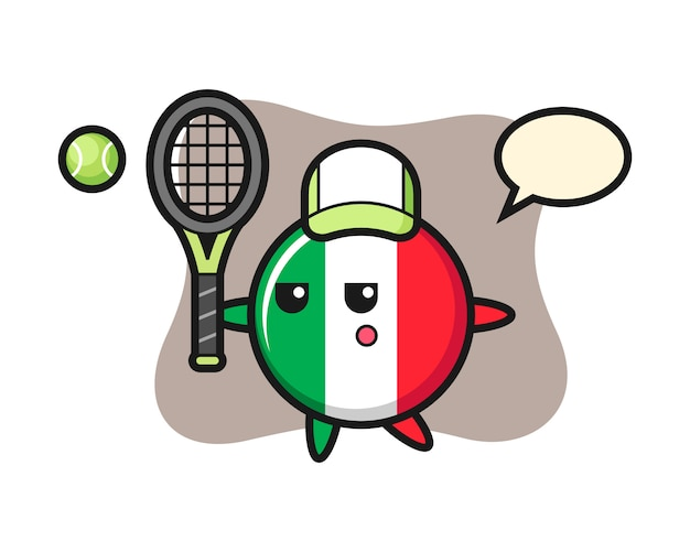 Cartoon illustration of italy flag badge as a tennis player, cute style , sticker, logo element