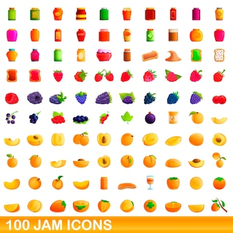 Cartoon illustration of jam icons set isolated on white