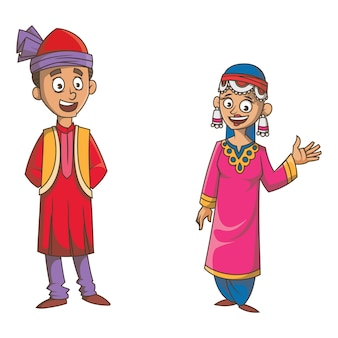 Cartoon illustration of jammu & kashmir couple.